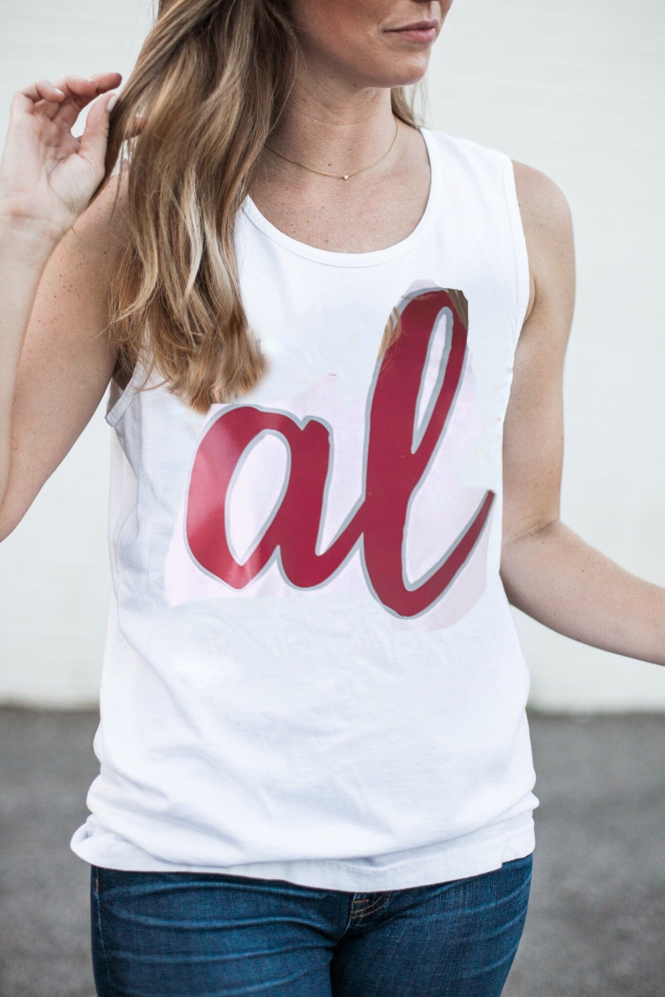 Script AL on Short Sleeve Comfort Colors Tank
