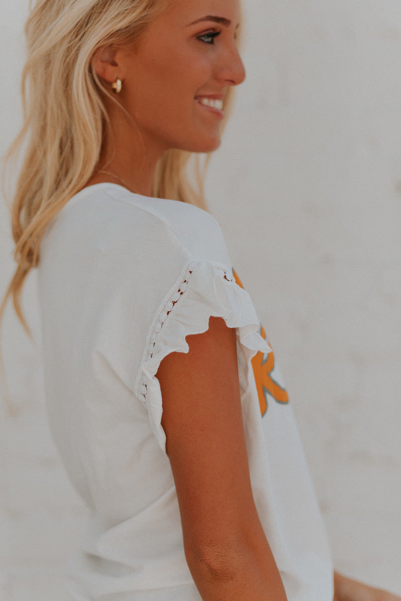 Knox White Ruffle Sleeve