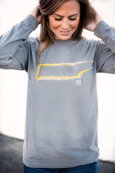 TN Gold Outline on Grey Comfort Colors Long Sleeve by Give Her Six