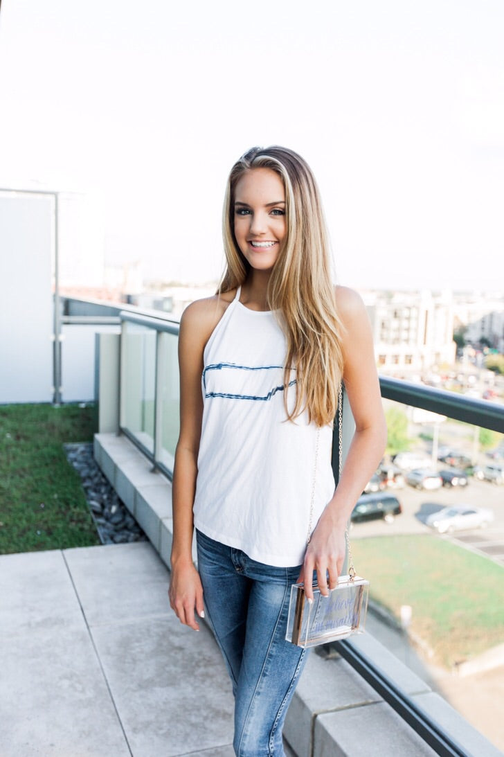 TN Flowy Blue Outline White Tank