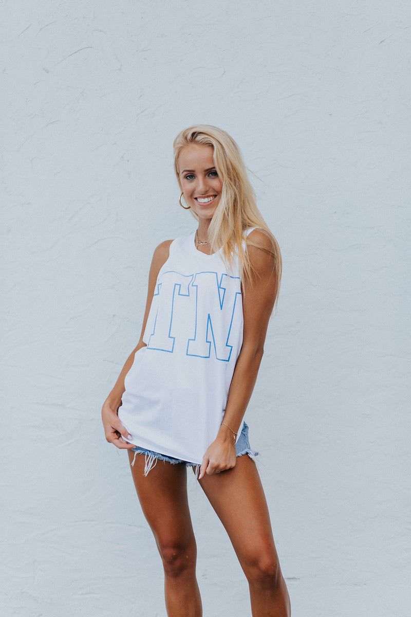TN White Tank with Blue TN