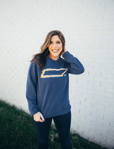 Tennessee Outline Comfort Colors Sweatshirt in Navy and Orange