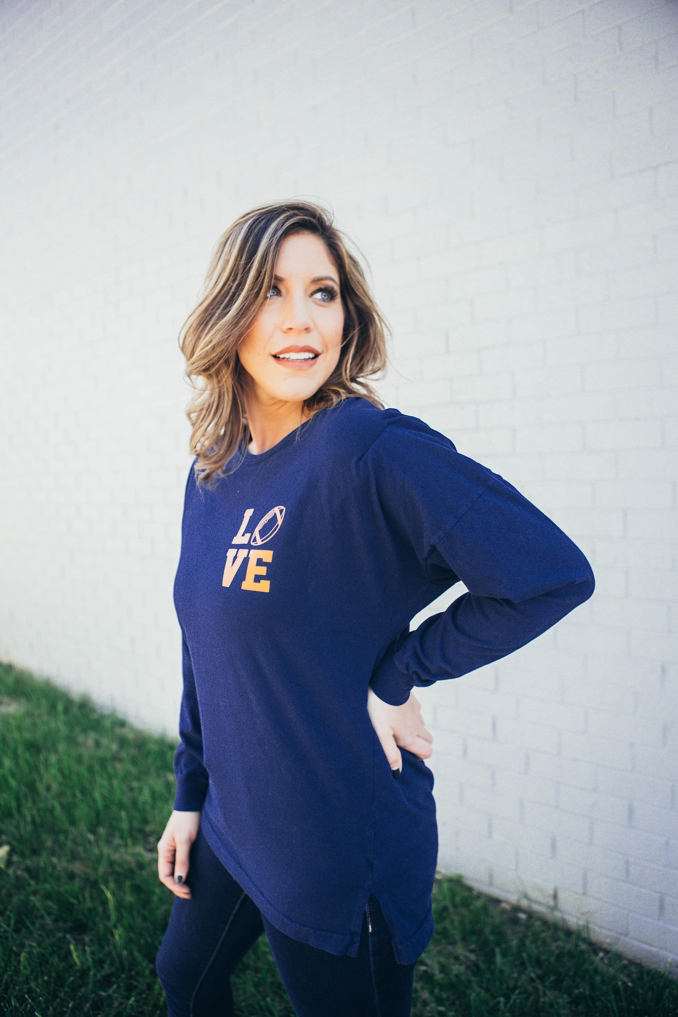Love Football Oversized Tee Navy and Orange