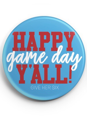 Happy Game Day Button (Light Blue)