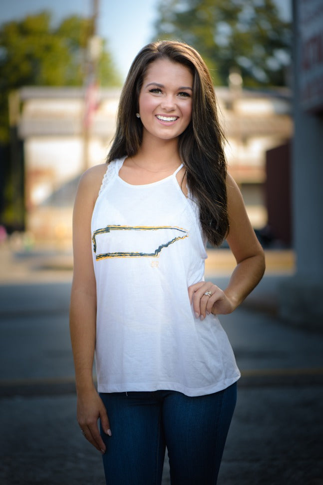TN Flowy White Tank with Gold Outline