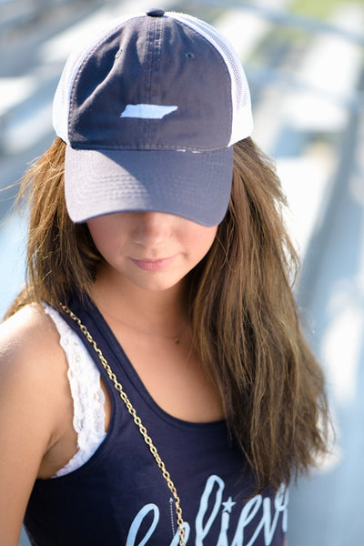 Navy and Light Blue Trucker Hat
