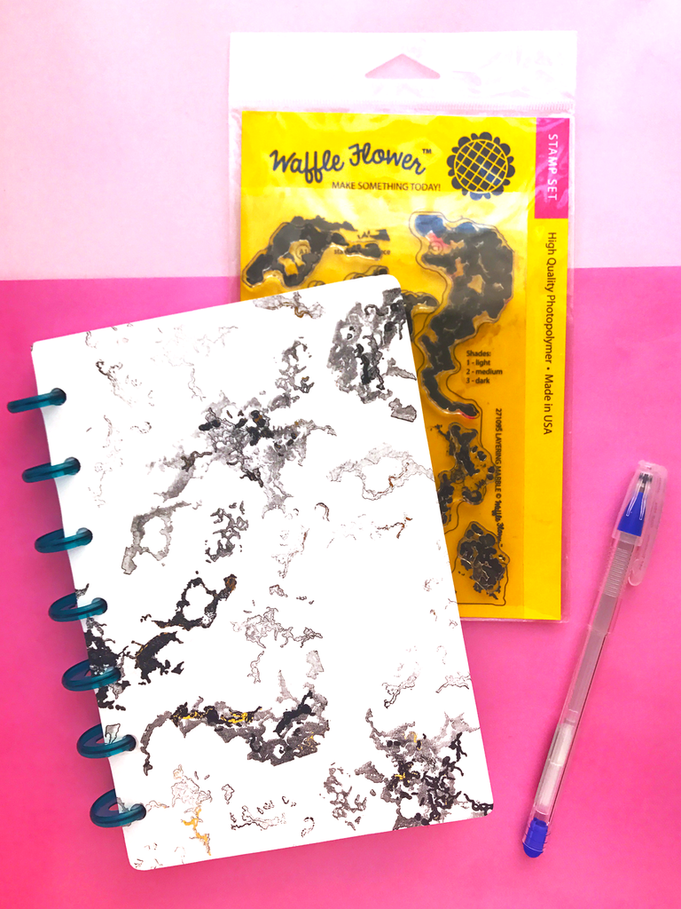 Marbled Gold Foil Planner Covers with Waffle Flower and Tombow
