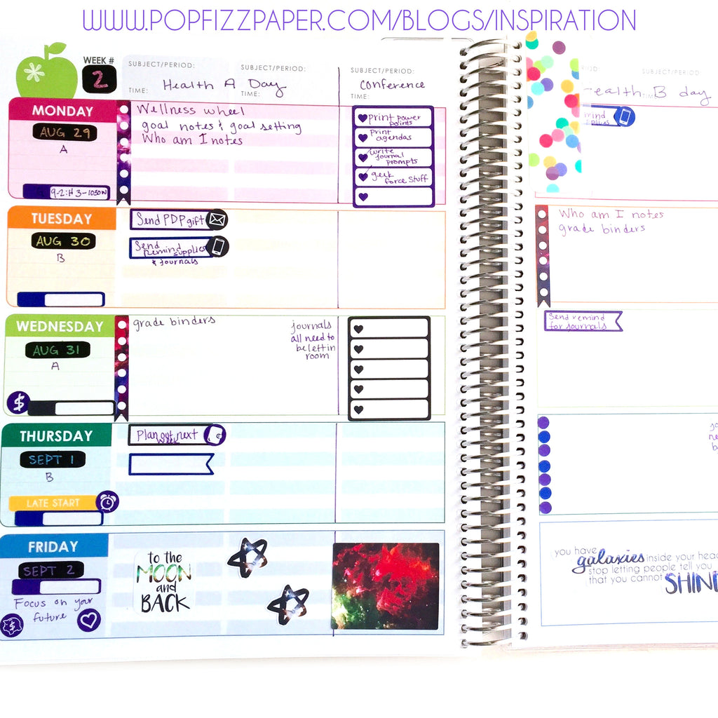 Weekly sets in Erin Condren Teacher Planner