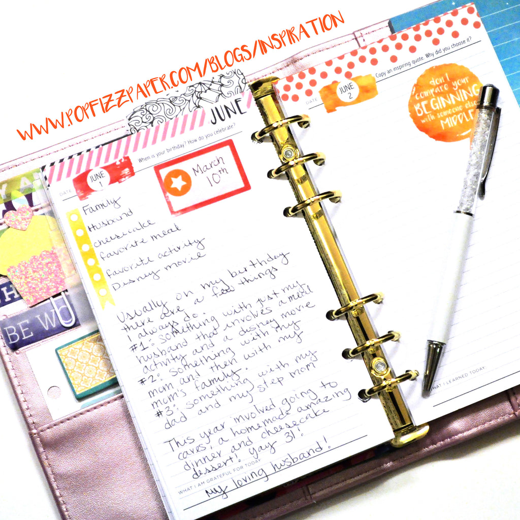 June Journal Prompts in a Personal Planner