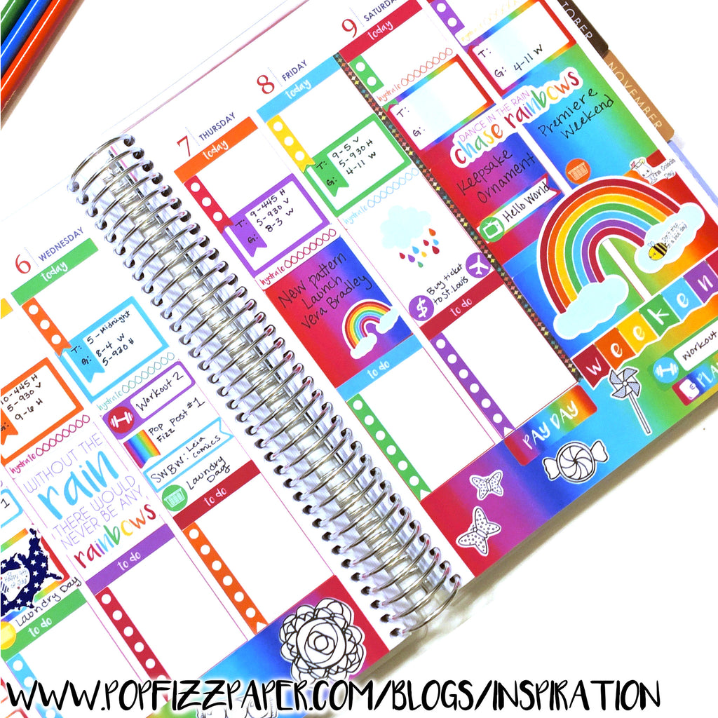 Colouring stickers in your planner