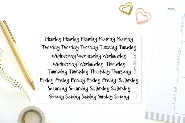 DA15 - Days of the Week Header Stickers