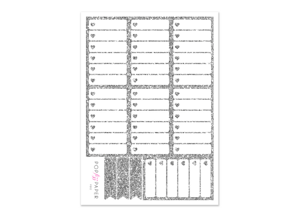 FB02 - Silver Glitter Checkboxes - Happy Planner