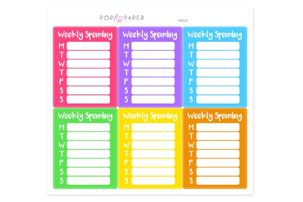 MO24 - Rainbow Weekly Spending Stickers