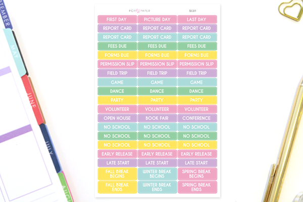 SC01 - Pastel School Events Stickers