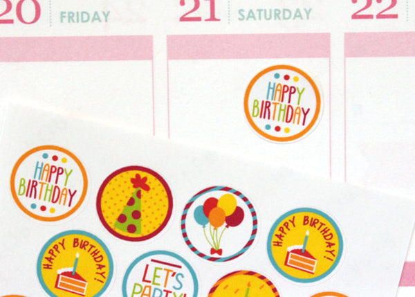 HO02 - Small Round Birthday Stickers
