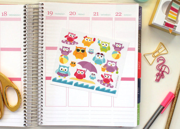 OW01 - Bright Beachtime Summer Owls Stickers