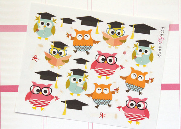 OW02 - Graduation Owls Stickers