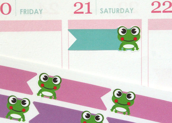 PF01 - Adorable Frog Flags Stickers