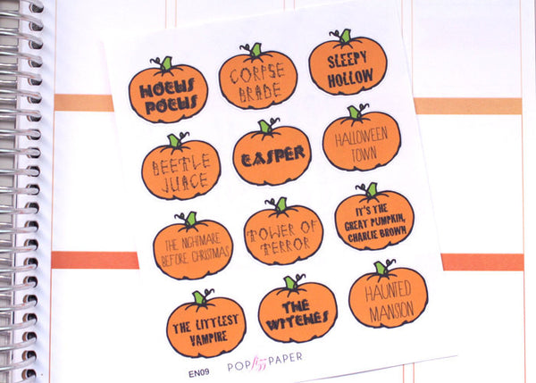 EN09 - Halloween Spooky Movie Favorites Stickers