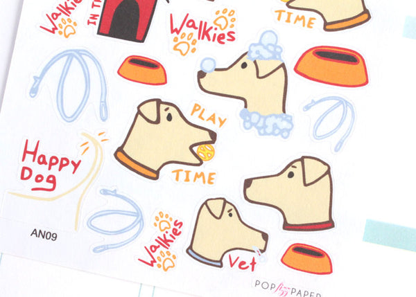 AN09 - Cute Red Dog Care Stickers