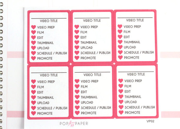VP02 - Pink Video Youtube Planner Stickers