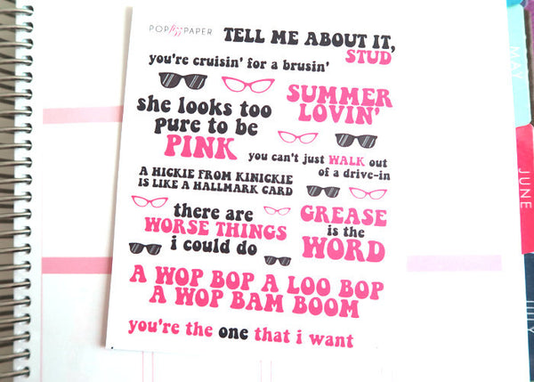 QT09 - Grease Movie Quote Stickers
