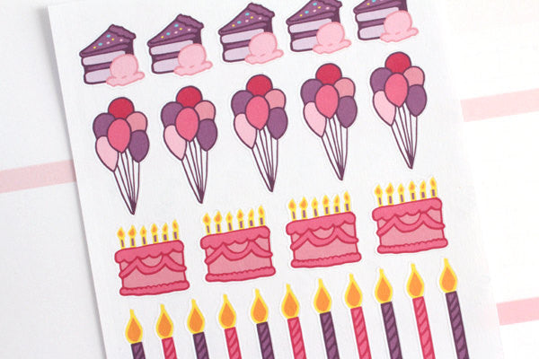 HO08 - Pink/Purple Birthday Stickers