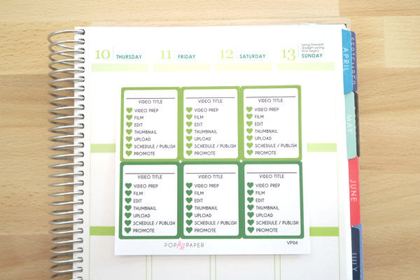 VP04 - Green Video Youtube Planner Stickers