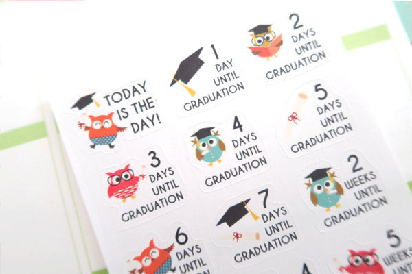 OW05 - Countdown to Graduation Owls Stickers
