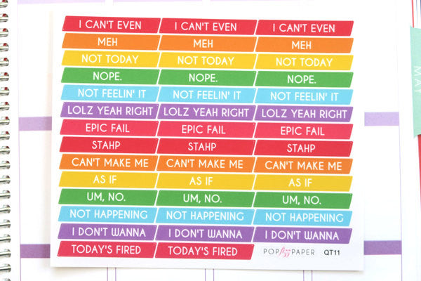 QT11 - Sassy Cancelled Stickers - Rainbow