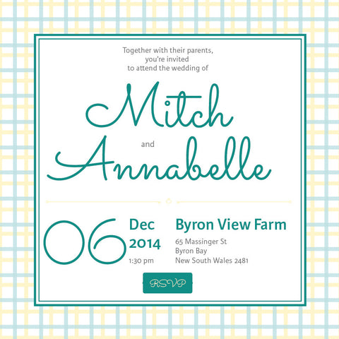 Lusciously Minty | Check |   Wedding Invitation: Evite