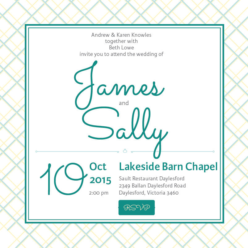 Lusciously Minty | Crosshatch |   Wedding Invitation: Evite