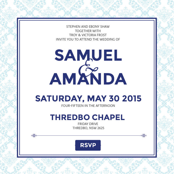 Decadence in Blue | Filigree |   Wedding Invitation: Evite
