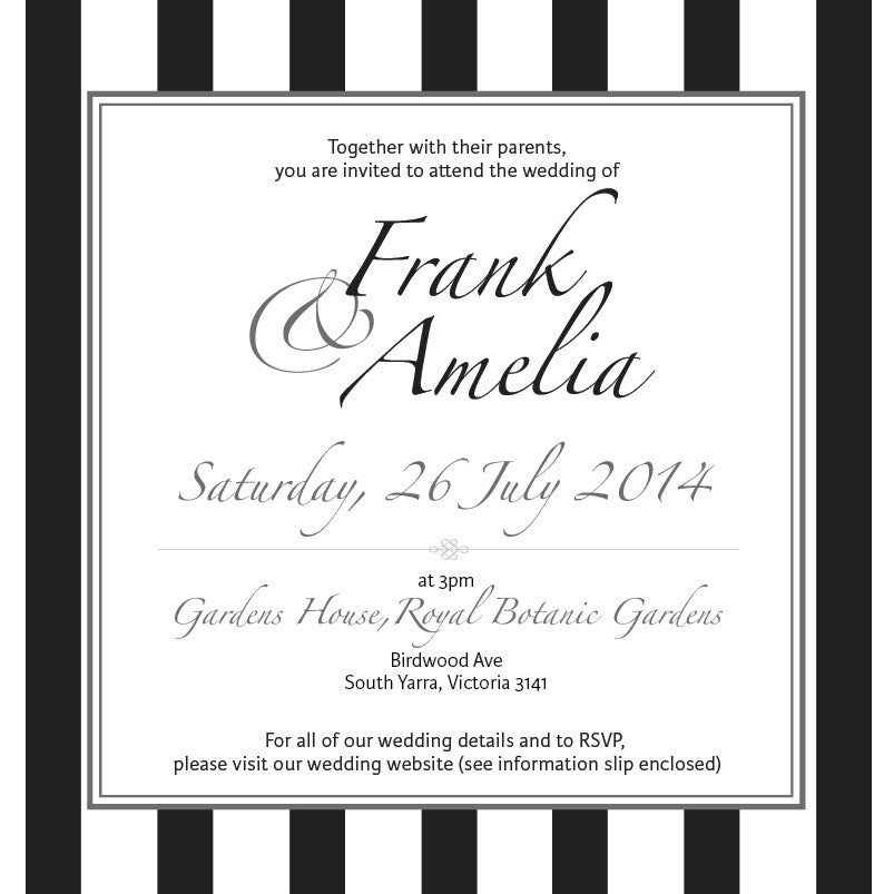 Effortless Chic | Stripes |   Wedding Invitation: Printed