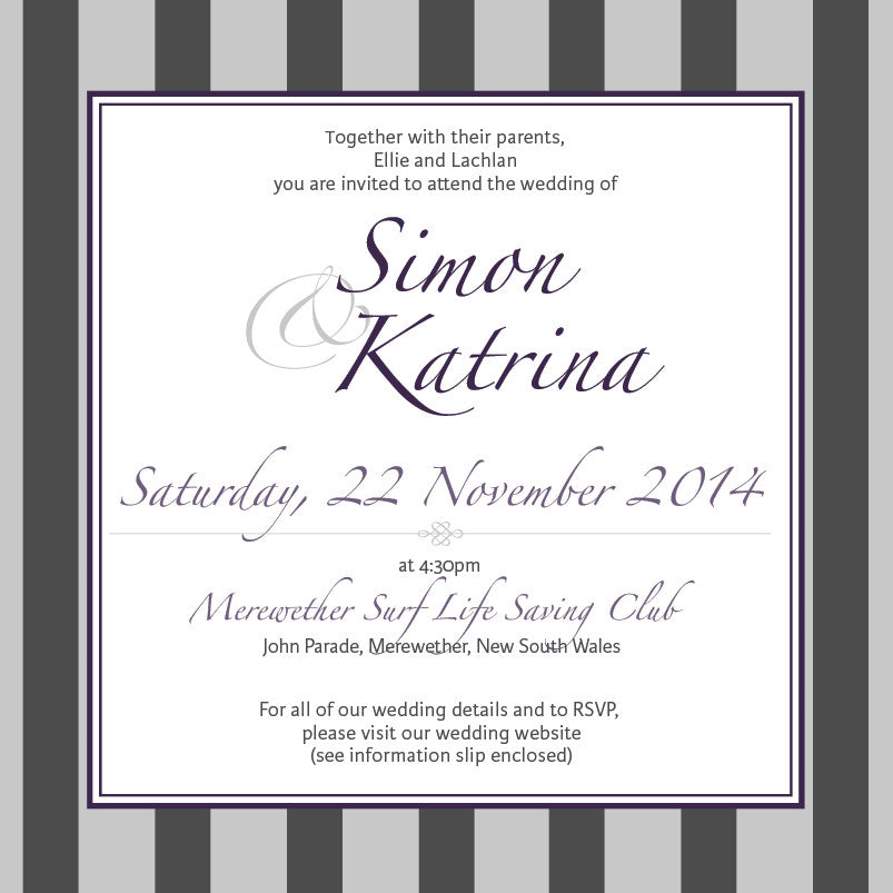Gracefully Glamorous | Stripes |   Wedding Invitation: Printed