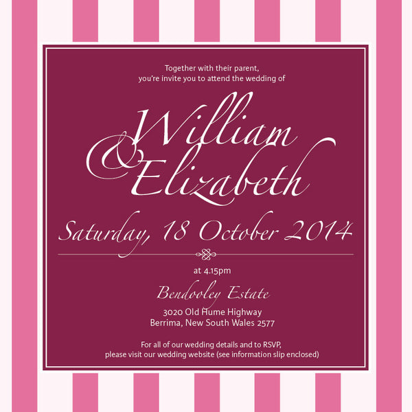 Vintage Blush | Stripes |   Wedding Invitation: Printed