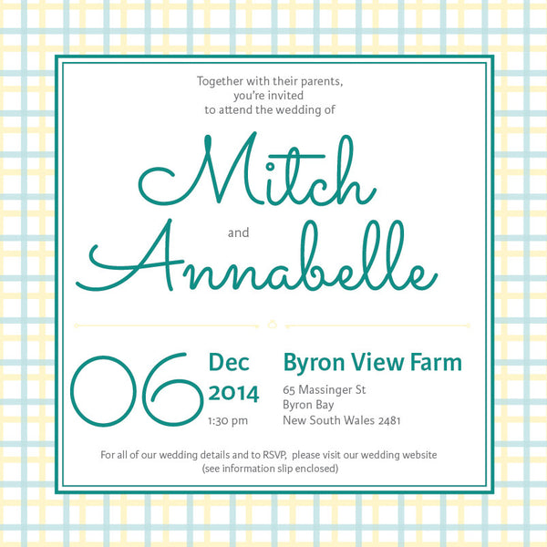 Lusciously Minty | Check |   Wedding Invitation: Printed