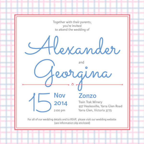 Picnic in Spring | Check |   Wedding Invitation: Printed