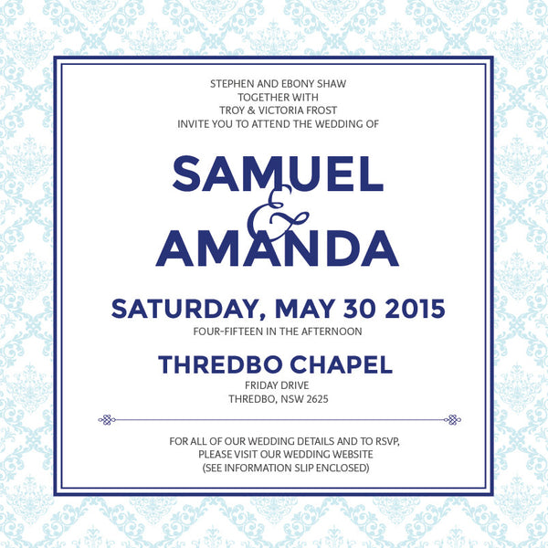 Decadence in Blue | Filigree |   Wedding Invitation: Printed