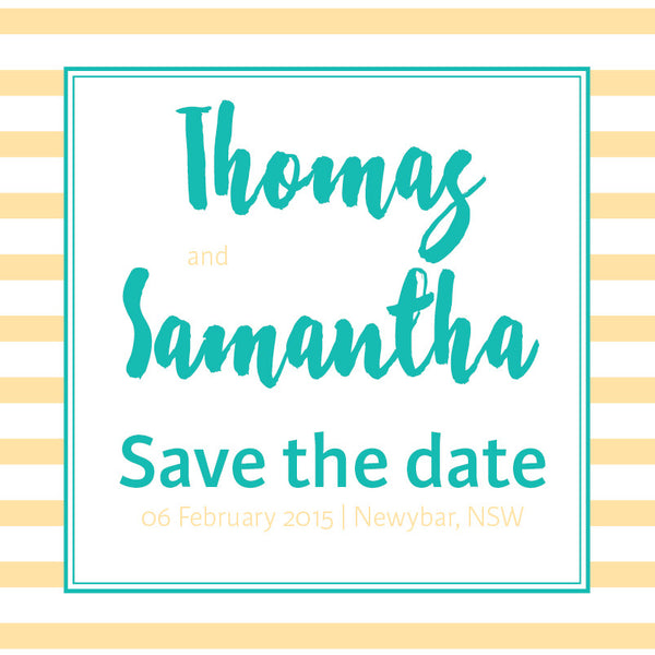 Golden Fizz | Stripes |   Save the Date: Printed