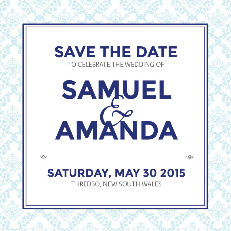Decadence in Blue | Filigree |   Save the Date: Printed