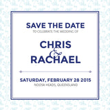 Decadence in Blue | Cascading Flowers |   Save the Date: Printed