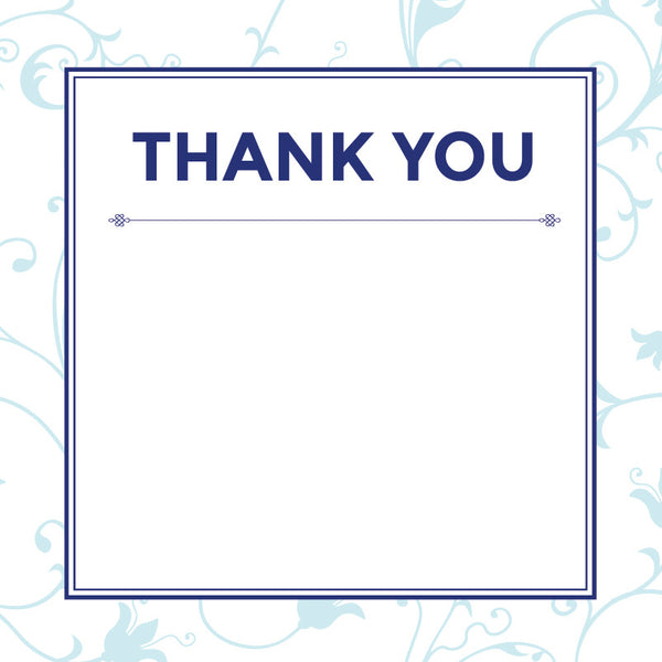 Decadence in Blue | Cascading Flowers | Thank you: Printed