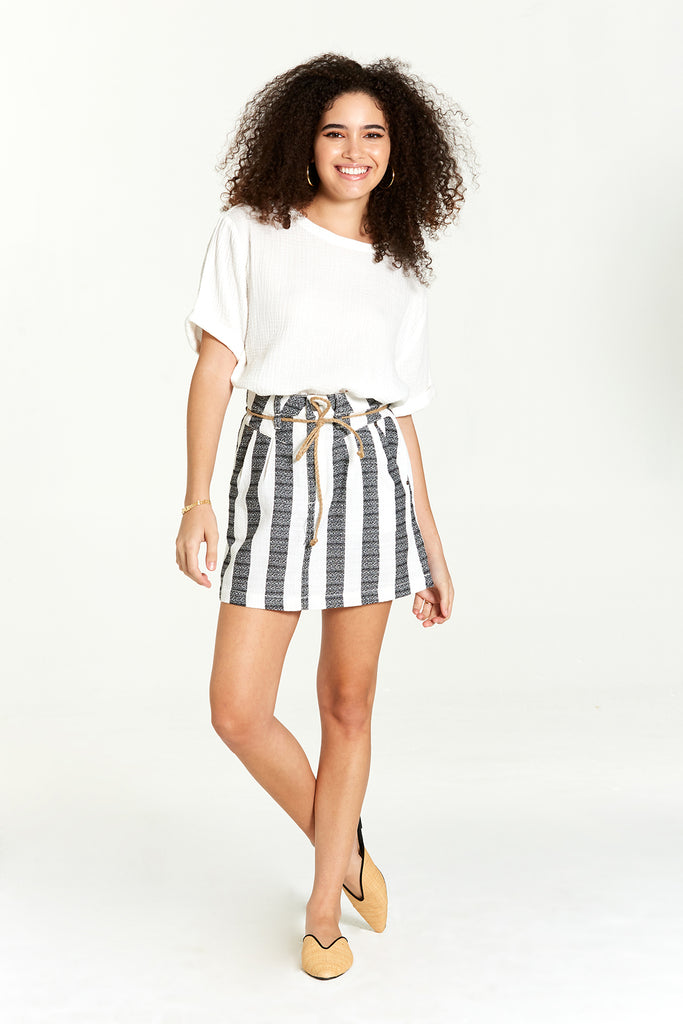 MADILYNN SKIRT IN BLACK STRIPES