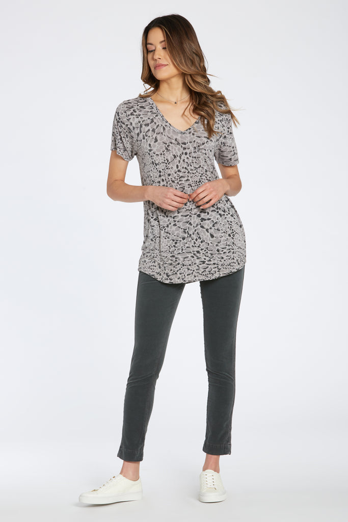 PAIGE SHIRT IN GREY LEOPARD