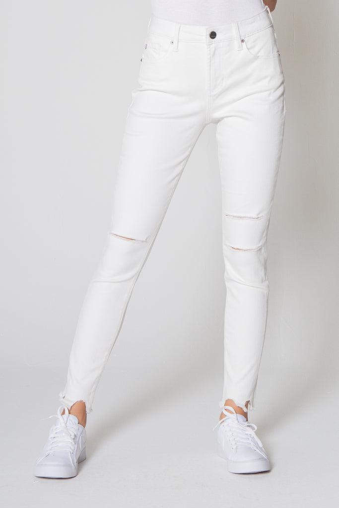 "9 1/2"" HIGH RISE GISELE SKINNY JEANS OPTIC WHITE"
