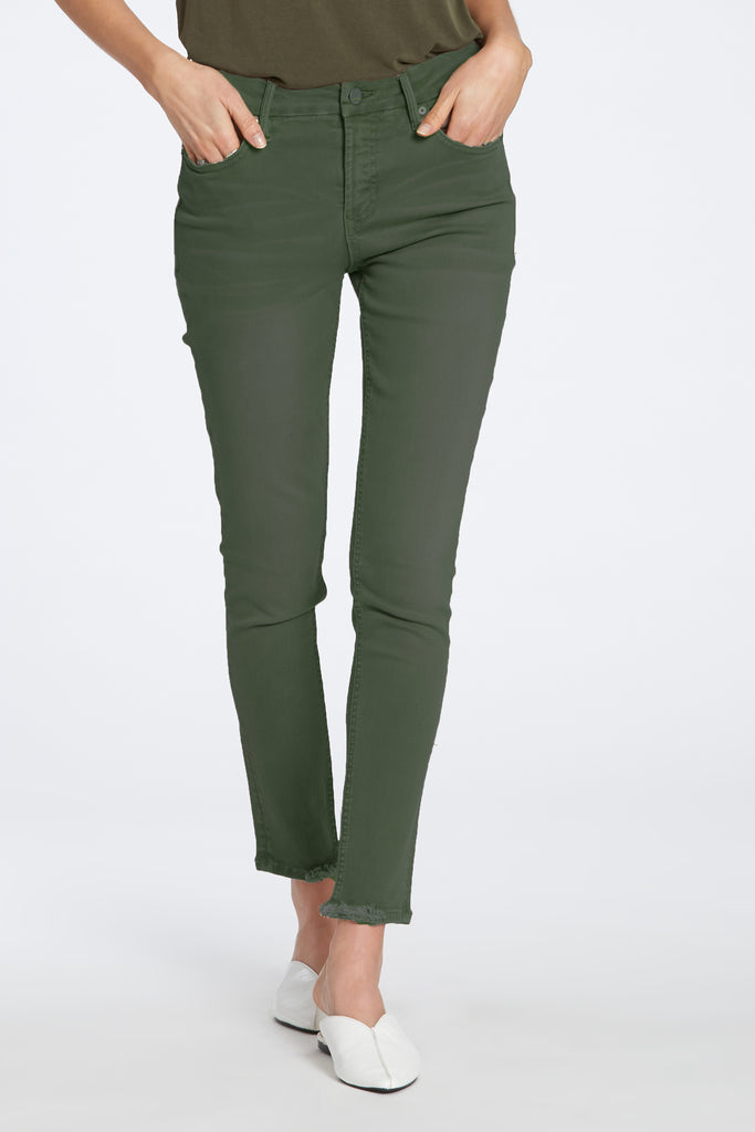 "9 1/2"" HIGH RISE GISELE JEANS IN FOREST GREEN"
