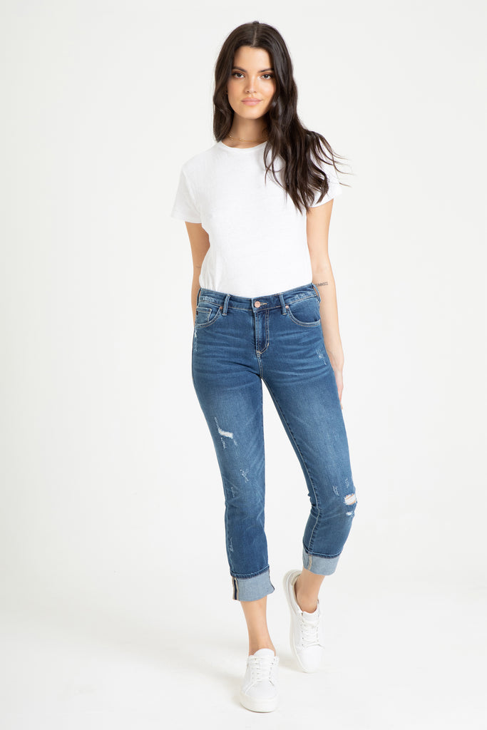 "9 1/2 "" BLAIRE CUFFED JEANS IN MEMPHIS"