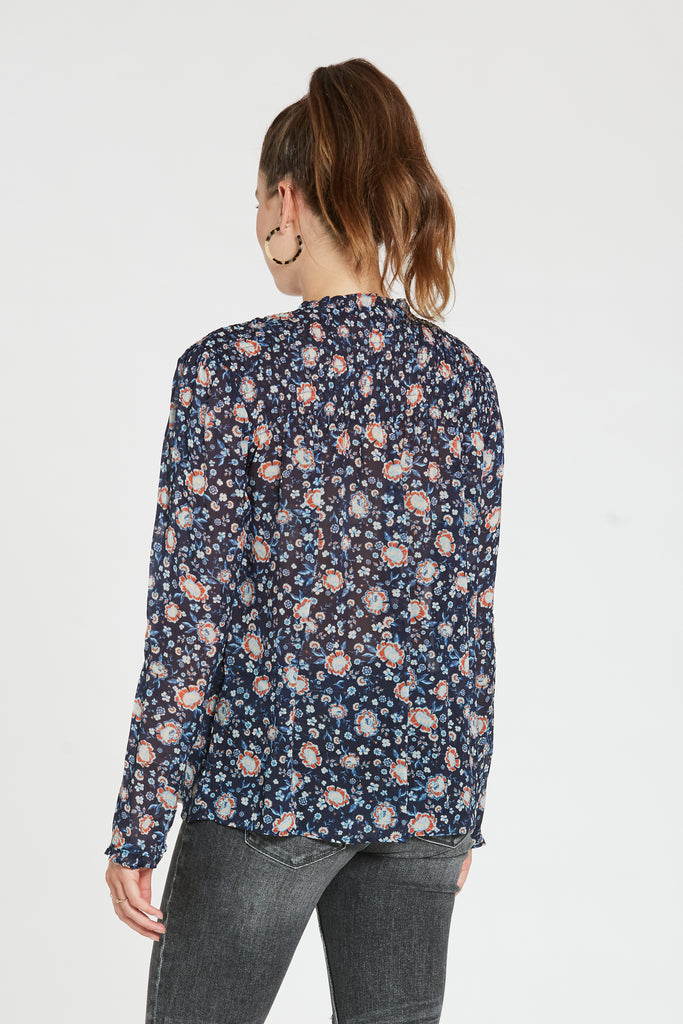 CECILY TOP IN BLUE FLORAL