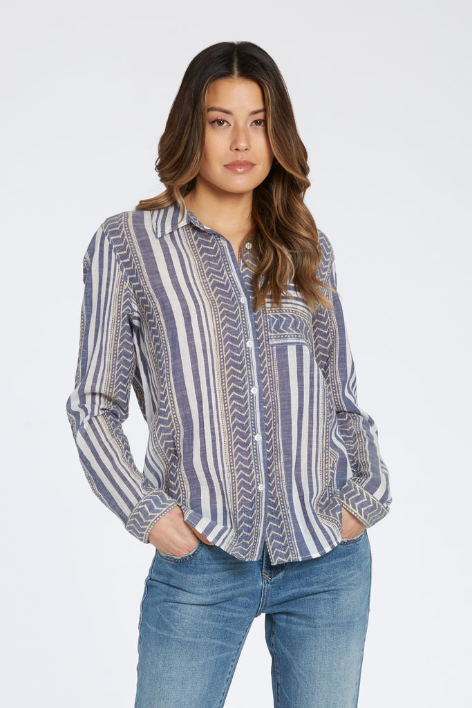 SOPHIA SHIRT IN CHAMBRAY & WHITE STRIPE